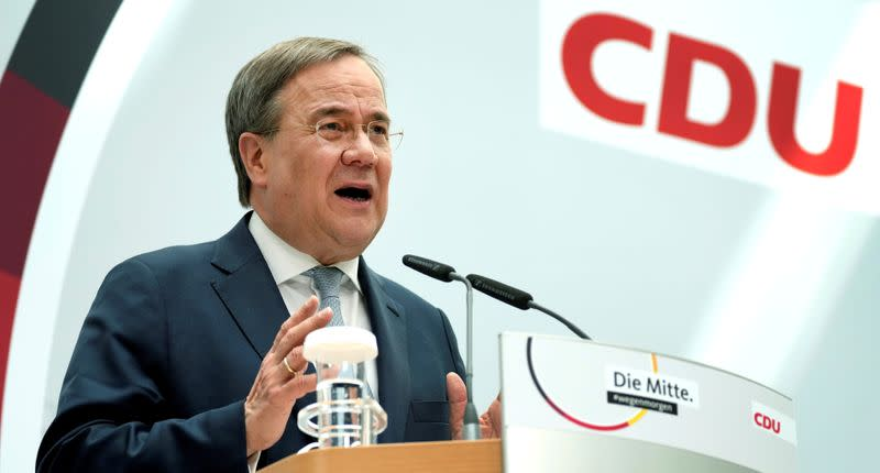 FILE PHOTO: Christian Democratic Union (CDU) news conference after party leadership meeting, in Berlin