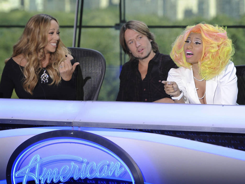 AMERICAN IDOL: Pictured L-R: Mariah Carey, Keith Urban, Nicki Minaj and Randy Jackson at the New York auditions of AMERICAN IDOL airing on the two-night premiere Wednesday, Jan. 16 (8:00-10:00 PM ET/PT) and Thursday, Jan. 17 (8:00-10:00 PM ET/PT).  CR: Michael Becker / FOX.