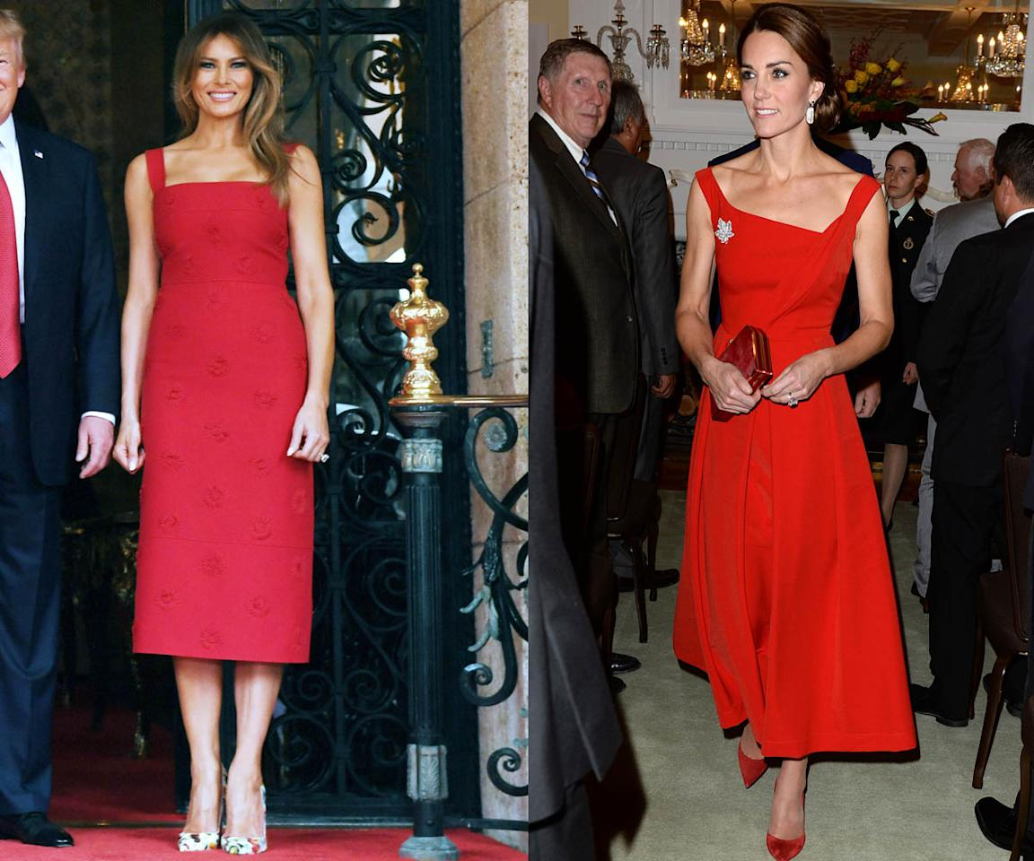<p>The Duchess of Cambridge opted for a red Preen dress to honor her hosts while on a royal trip to Canada, and the first lady stood out in the fiery color while attending a Mar-a-Lago event. (Photos: Getty Images) </p>