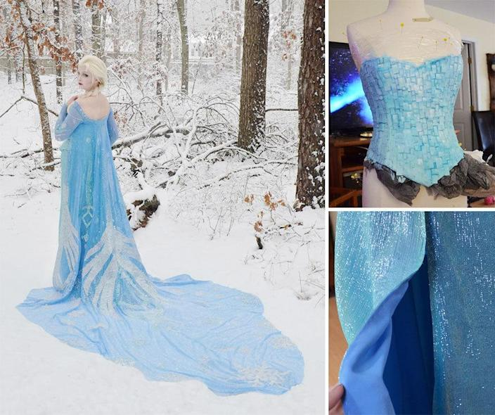 "<p>This Elsa dress took 250 hours to make! According to <a href=""http://www.buzzfeed.com/cathyngo/this-18-year-old-girl-is-sewing-gowns-worthy-of-royalty#.hmZ5RZjg3z"" rel=""nofollow noopener"" target=""_blank"" data-ylk=""slk:Buzzfeed"" class=""link rapid-noclick-resp"">Buzzfeed</a>, the ""Frozen""-inspired piece took 170 hours alone on the cape, which was embellished by hand. (Photo: <a href=""http://angelaclayton.crevado.com/"" rel=""nofollow noopener"" target=""_blank"" data-ylk=""slk:Angela Clayton"" class=""link rapid-noclick-resp"">Angela Clayton</a>)</p>"