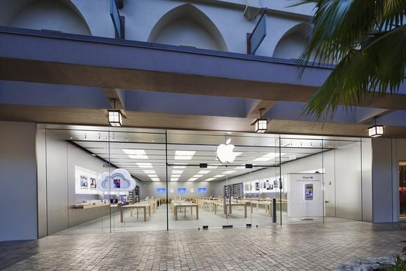 Apple store location from outside, with palm tree near entrance, near dusk.