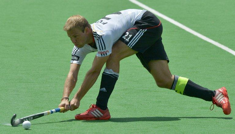 Germany's Moritz Fuerste during a men's Hockey Champions Trophy match on December 9, 2012. Fuerste, the International Hockey Federation player of the year for 2012 after helping Germany win two successive Olympic golds in Beijing and London, went to the Ranchi Rhinos for $75,000