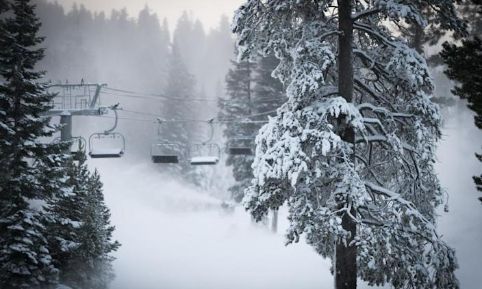 The Alpine Meadows ski resort at Alpine Meadows, California, during the first snowfall on Sunday, 8 November 2020.