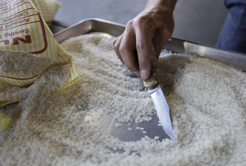 Agriculture specialist John Machado, with U.S. Customs and Border Protection, uses a knife to sift through an opened bag of rice during an inspection in Oakland, Calif., Tuesday Aug. 23, 2011.  Dozens of foreign insects and plant diseases slipped undetected into the United States in the years after 9/11, when authorities were so focused on preventing another attack that they overlooked a pest explosion that threatened the quality of the nation's food supply. (AP Photo/Eric Risberg)