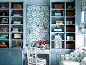 """<p>Built-in storage will save you so much space. Opt for floating shelves to put your decor on display and then tuck away unsightly essentials into the cabinets below. A statement wall in paper or color you love will also inspire creativity. We're digging this fun blue print by <a href=""""https://brookecrewinteriors.com/"""" rel=""""nofollow noopener"""" target=""""_blank"""" data-ylk=""""slk:Brooke Crew"""" class=""""link rapid-noclick-resp"""">Brooke Crew</a>. </p>"""