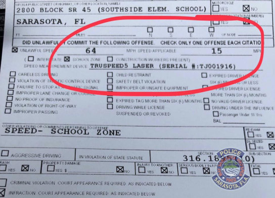 A police department stopped a driver who was speeding over 4 times the limit in a school zone (Credit: Facebook)