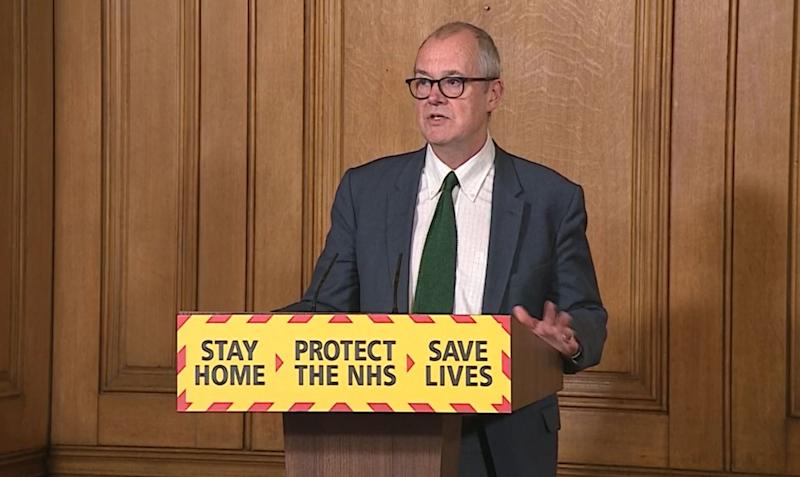 Screen grab of Chief Scientific Adviser Sir Patrick Vallance during a media briefing in Downing Street, London, on coronavirus (COVID-19).