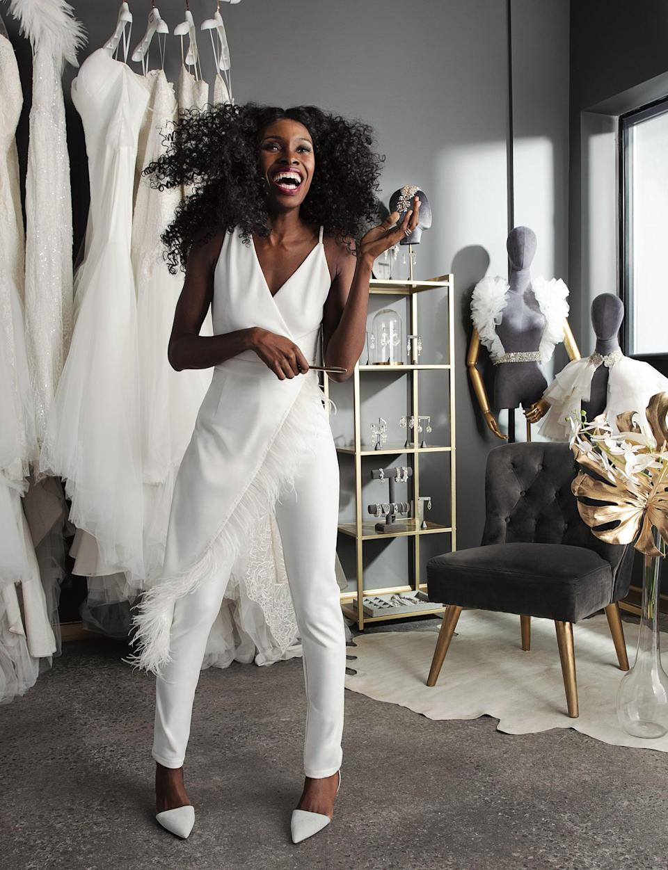 """<ul> <li><strong>On being recognized only as a Black designer:</strong> """"When <a href=""""https://pantorabridal.com/"""" class=""""link rapid-noclick-resp"""" rel=""""nofollow noopener"""" target=""""_blank"""" data-ylk=""""slk:Pantora"""">Pantora</a> does get recognition, it's often on a 'Black Designers' list. I think a lot of Black designers experience that. Our talent exists year-round, but when we get recognition it's only on 'Black Designers to Know' lists. But if we are talented, and you truly want to give us the recognition, then it should come at any point in time, not just when you want to specifically acknowledge Black talent.""""</li> <li><strong>On <a class=""""link rapid-noclick-resp"""" href=""""https://www.popsugar.com/Wedding"""" rel=""""nofollow noopener"""" target=""""_blank"""" data-ylk=""""slk:wedding"""">wedding</a> gowns being designed for Black women:</strong> """"I think that Black women have such big spending power. The fact that we aren't acknowledging them in fashion does not make any sense. It just doesn't. I would love for size charts to make sense for different body types. I would love to see designers and brands pay attention to skin tones. Pantora is not the first brand to create mesh that matches skin tones - and we would never claim to be - but we made a point of creating a line of mesh called Forgotten Skin Tones that addresses as many skin tones as possible, so Black women can get the illusion look that's trending everywhere. I would love to see other brands do that.""""</li> </ul>"""