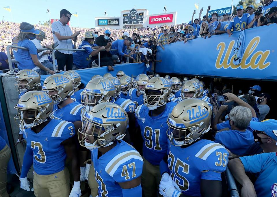 UCLA prepares to take the field for a game against LSU.