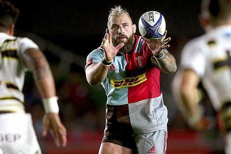 Catching on | Joe Marler was a force with ball in hand, despite Harlequins losing to La Rochelle in the Champions Cup at the weekend: Rex Features