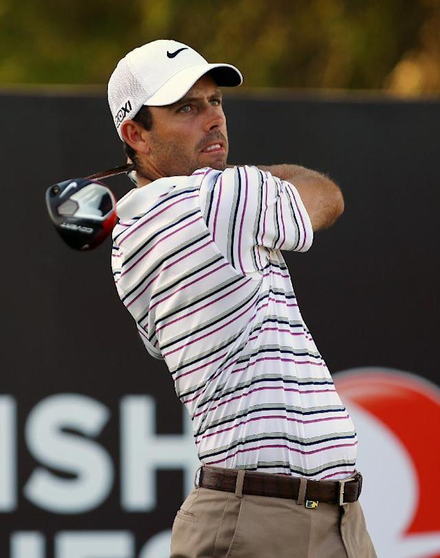 Charl Schwartzel of South Africa plays a shot from the 18th tee during the second round of the Turkish Open golf tournament at the Montgomerie Maxx Royal Course in Antalya, Turkey, Friday, Nov. 8, 2013. (AP Photo/Kaan Soyturk)