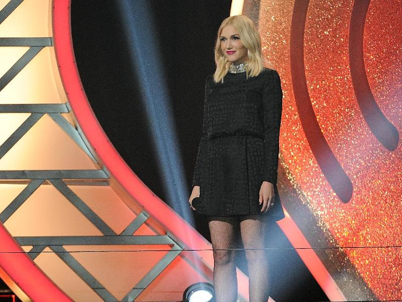 Gwen Stefani presents the iHeartRadio innovator award at the iHeartRadio Music Awards at the Shrine Auditorium on Thursday, May 1, 2014, in Los Angeles. (Photo by Chris Pizzello/Invision/AP)