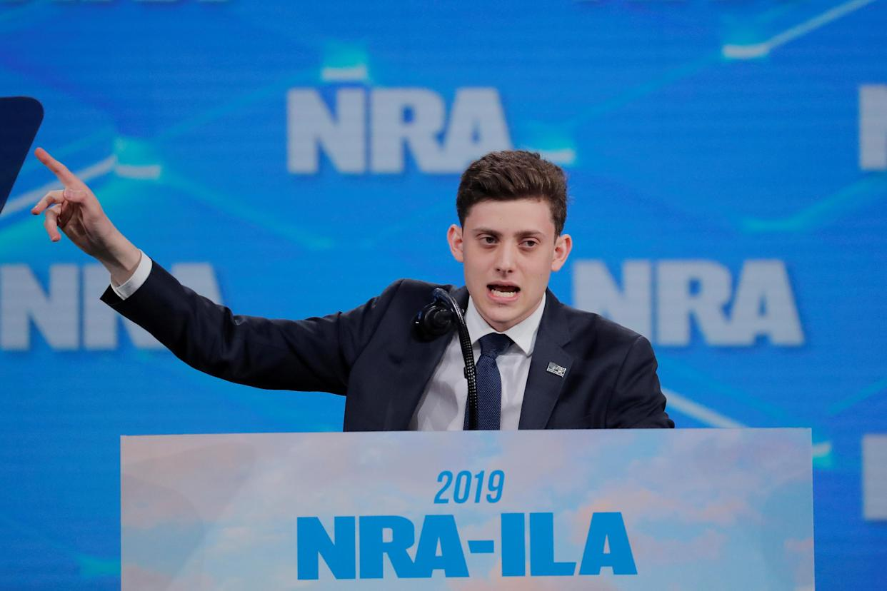 Kyle Kashuv addresses the National Rifle Association's annual meeting in Indianapolis in April. (Lucas Jackson/Reuters)