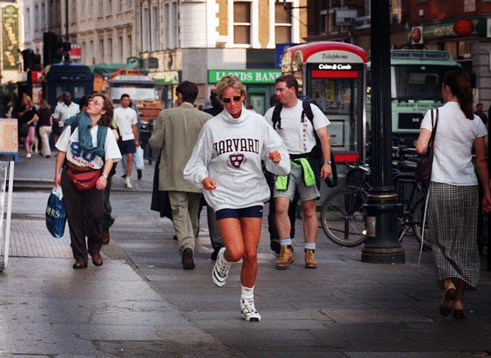 "<p>Princess Diana, fitted in her running sneakers and bike shorts, jogged through the crowded London streets in 1997. The royal exercised about three times a week, doing everything from <a href=""https://www.princessdianaforever.com/royal-beauty-secrets"" rel=""nofollow noopener"" target=""_blank"" data-ylk=""slk:walking and jogging to aerobics"" class=""link rapid-noclick-resp"">walking and jogging to aerobics</a>. </p>"