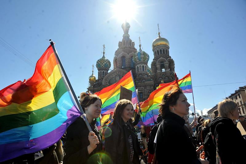 Gay rights activists march in St Petersburg, Russia, on May 1, 2013