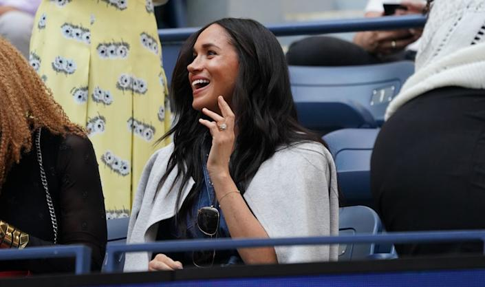 Meghan, Duchess of Sussex arrives to watch Serena Williams against Bianca Andreescu during the Women's Singles Finals match at the 2019 U.S. Open at the USTA Billie Jean King National Tennis Center in New York on Sept. 7, 2019. | TIMOTHY A. CLARY—AFP/Getty Images