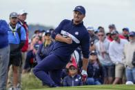 Team USA's Bryson DeChambeau reacts to his shot on the 15th hole during a four-ball match the Ryder Cup at the Whistling Straits Golf Course Saturday, Sept. 25, 2021, in Sheboygan, Wis. (AP Photo/Ashley Landis)