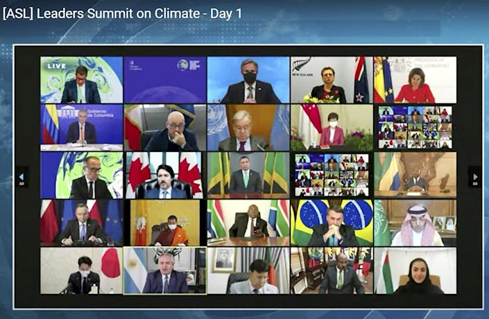 World leaders are shown on Zoom video.