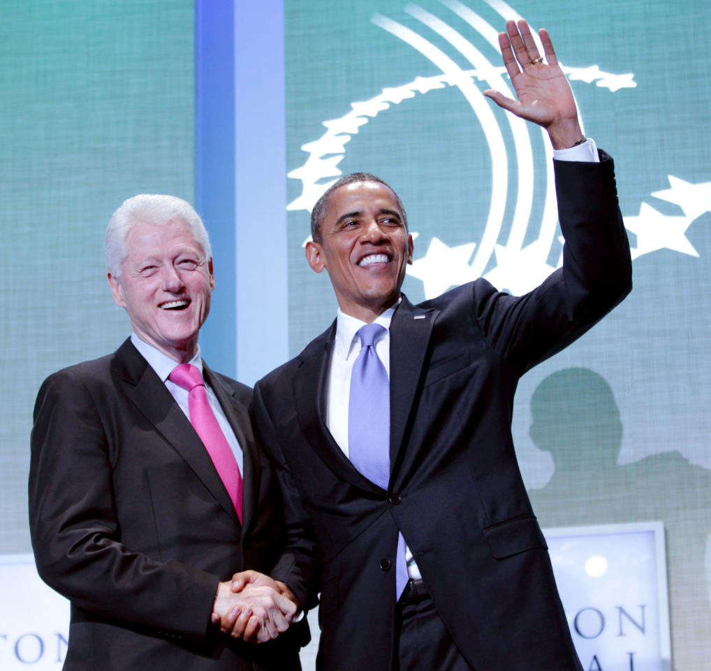 President Barack Obama and former President Bill Clinton shake hands at the Clinton Global Initiative in New York, Wednesday, Sept., 21, 2011. (AP Photo/Pablo Martinez Monsivais)
