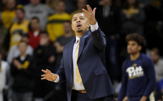 Pittsburgh head coach Jeff Capel directs his team during the first half of an NCAA college basketball game against Iowa, Tuesday, Nov. 27, 2018, in Iowa City, Iowa. (AP Photo/Charlie Neibergall)