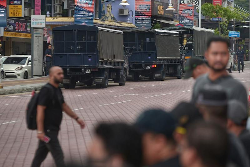 A heavy police presence is seen in Brickfields, Kuala Lumpur August 24, 2019. — Picture by Shafwan Zaidon