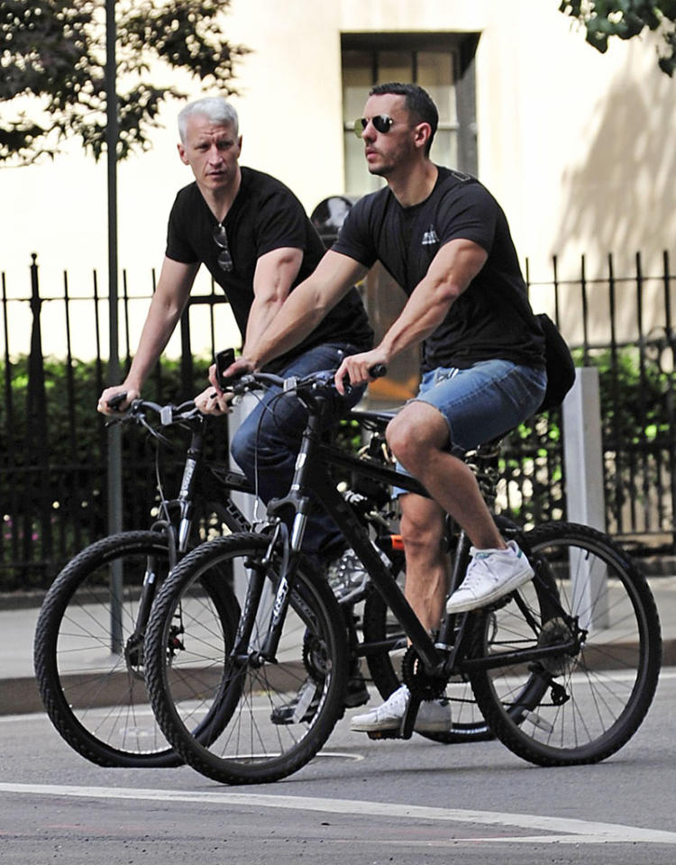 Notoriously cagey, 46-year-old newsman Anderson Cooper and his beau, bar owner Ben Maisani, live in a converted fire station in Manhattan and have been committed for years. Accepting a GLAAD award in 2012, Cooper thanked Maisani in his speech.