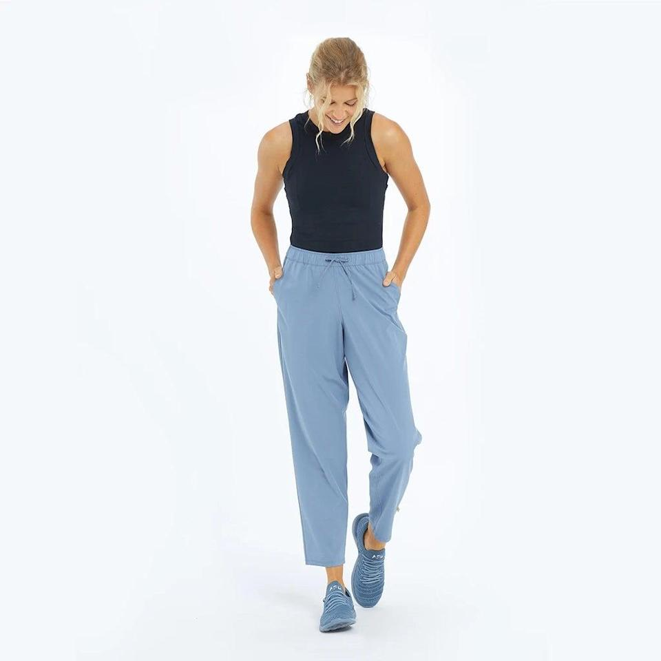 """<h2>Summersalt On-The-Go Pant</h2><br>Don't overthink it: seek out the pants that were quite literally <em>made</em> for travel. Summersalt's On-The-Go Pant takes care of all of your uncomfortable flying woes. The fabric is moisture-wicking and made with four-way stretch. You can work in them, work out in them, and crumple them on your hotel floor, only for them to look as good as new the following day. <br><br><em>Shop <strong><a href=""""https://www.summersalt.com/"""" rel=""""nofollow noopener"""" target=""""_blank"""" data-ylk=""""slk:Summersalt"""" class=""""link rapid-noclick-resp"""">Summersalt</a></strong></em><br><br><strong>Summersalt</strong> The On-The-Go Pant, $, available at <a href=""""https://go.skimresources.com/?id=30283X879131&url=https%3A%2F%2Fwww.summersalt.com%2Fproducts%2Fthe-on-the-go-pant-slate"""" rel=""""nofollow noopener"""" target=""""_blank"""" data-ylk=""""slk:Summersalt"""" class=""""link rapid-noclick-resp"""">Summersalt</a>"""