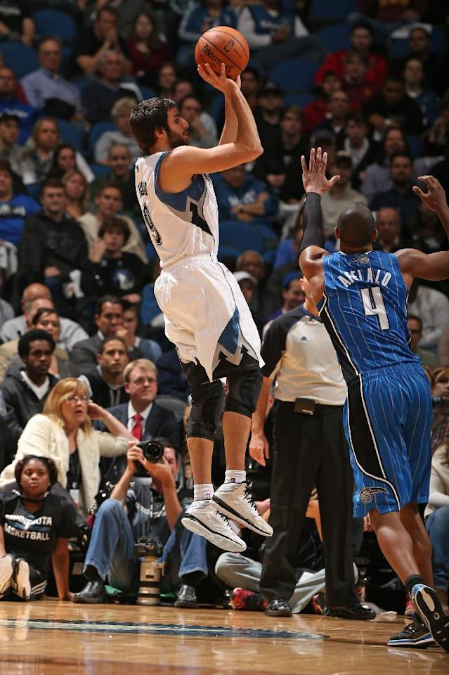 MINNEAPOLIS, MN - OCTOBER 30: Ricky Rubio #9 of the Minnesota Timberwolves shoots the ball against the Orlando Magic during the season and home opening game on October 30, 2013 at Target Center in Minneapolis, Minnesota. (Photo by David Sherman/NBAE via Getty Images)