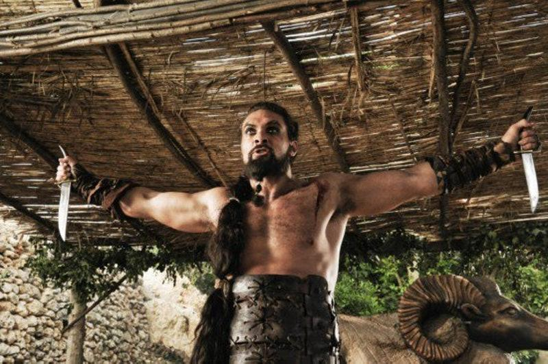 Jason Momoa as Khal Drogo in Game of Thrones (Credit: HBO)