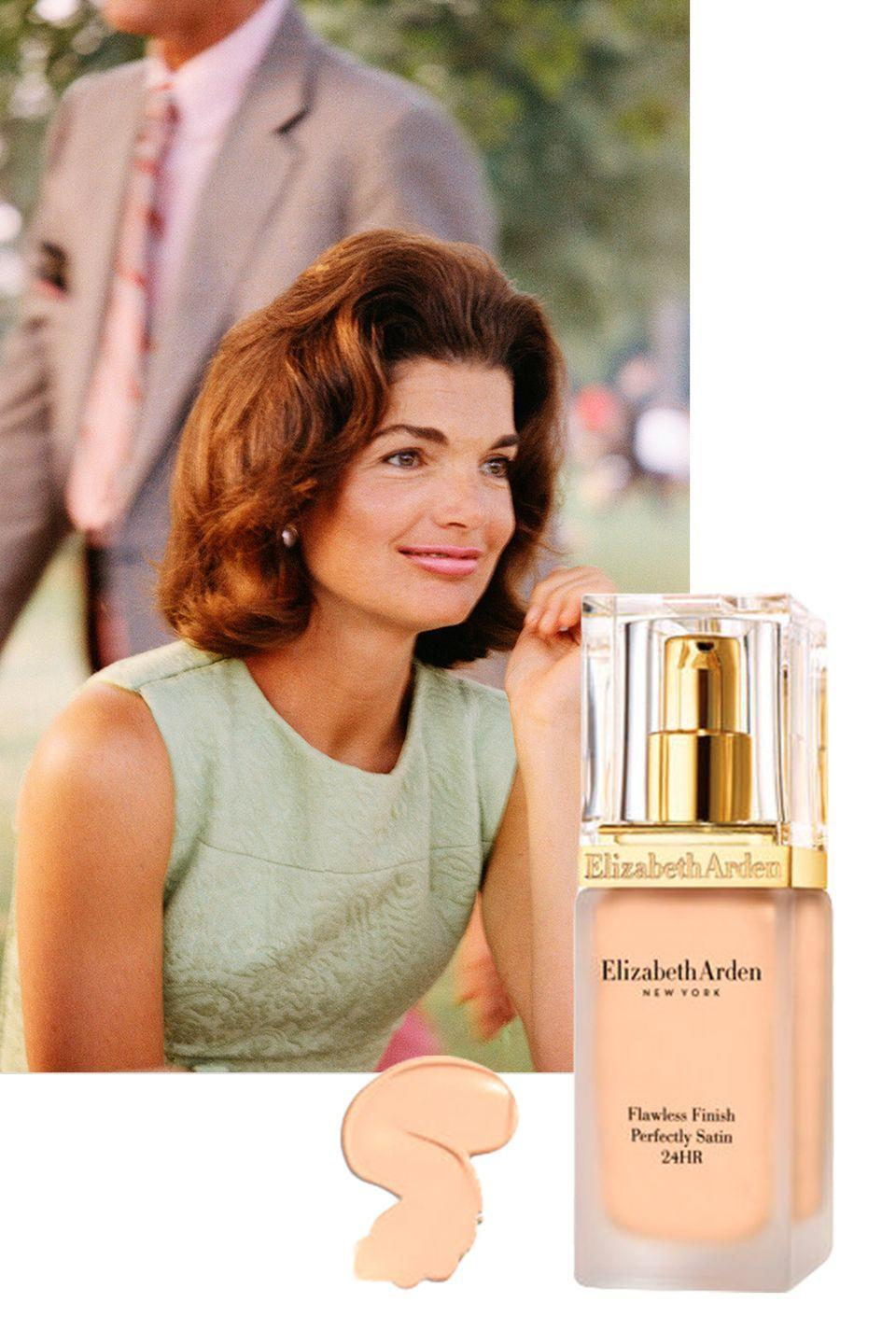 "<p>As the former first lady aged, her skin suffered from sun spots, likely the result of her many holidays in the South of France, Greece, and Rhode Island. To cover up the discoloration, she <a href=""http://www.vanityfair.com/style/1995/11/jackie-kenedy-199511"" rel=""nofollow noopener"" target=""_blank"" data-ylk=""slk:turned"" class=""link rapid-noclick-resp"">turned</a> to Elizabeth Arden's <span><a href=""http://www.elizabetharden.com/flawless-finish-perfectly-satin-1002FFLC000.html?dwvar_1002FFLC000_color=fflc007&cgid=foundation"" rel=""nofollow noopener"" target=""_blank"" data-ylk=""slk:Flawless Finish Foundation"" class=""link rapid-noclick-resp"">Flawless Finish Foundation</a>, which gave her a fresh-faced, even</span> complexion.</p><p><a class=""link rapid-noclick-resp"" href=""https://go.redirectingat.com?id=74968X1596630&url=https%3A%2F%2Fwww.elizabetharden.com%2Fflawless-finish-perfectly-satin-1002FFLC000.html&sref=https%3A%2F%2Fwww.goodhousekeeping.com%2Flife%2Fentertainment%2Fg33481959%2Fjackie-kennedy-beauty-tips%2F"" rel=""nofollow noopener"" target=""_blank"" data-ylk=""slk:SHOP NOW"">SHOP NOW</a> <em>Elizabeth Arden Flawless Finish Foundation, $39</em><br></p>"