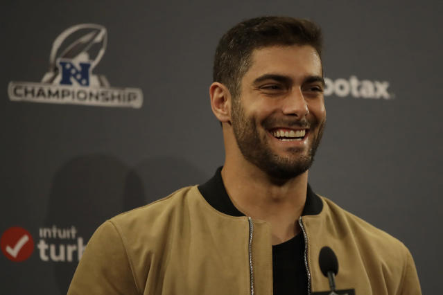 San Francisco 49ers quarterback Jimmy Garoppolo speaks at a news conference after the NFL NFC Championship football game against the Green Bay Packers Sunday, Jan. 19, 2020, in Santa Clara, Calif. The 49ers won 37-20 to advance to Super Bowl 54 against the Kansas City Chiefs. (AP Photo/Ben Margot)