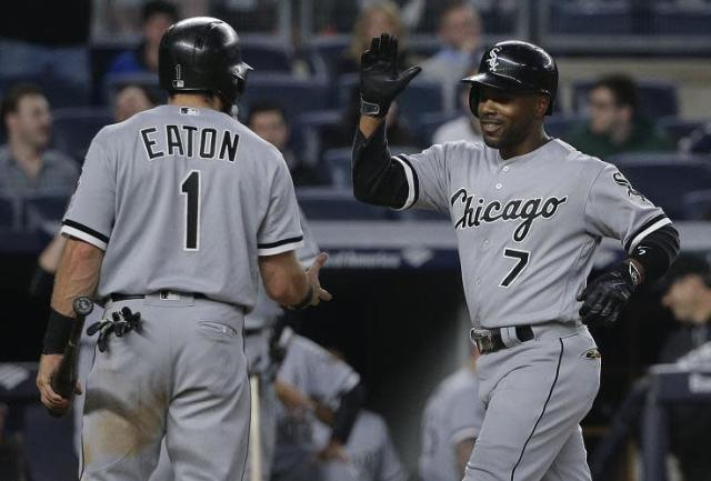 "Jimmy Rollins celebrates with <a class=""link rapid-noclick-resp"" href=""/mlb/players/9302/"" data-ylk=""slk:Adam Eaton"">Adam Eaton</a> after hitting a two-run homer for he White Sox last May. (AP)"