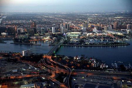 FILE PHOTO: The city of Long Beach is seen at dusk