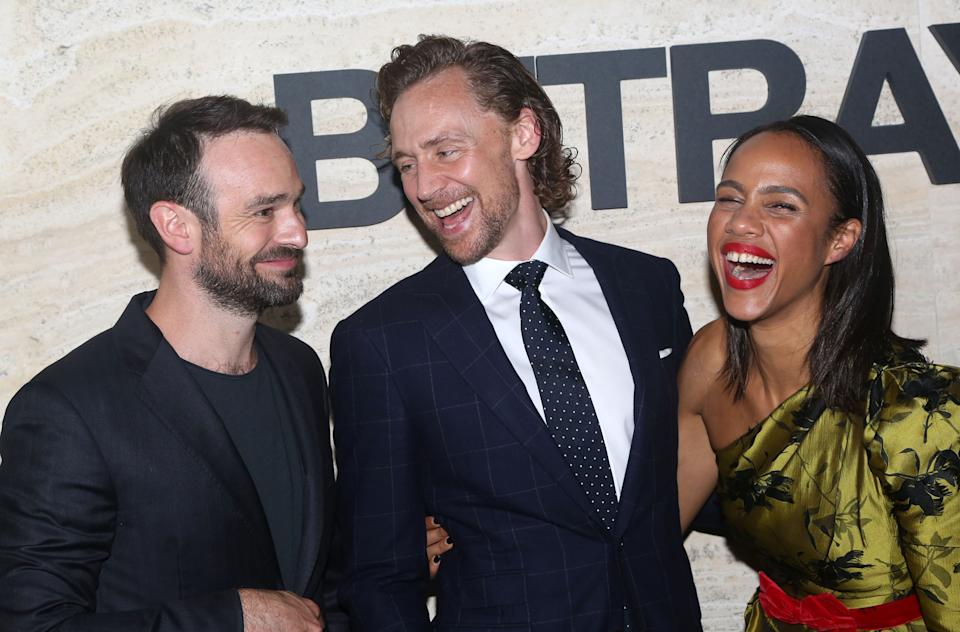 """NEW YORK, NY – SEPTEMBER 5: (L-R) Charlie Cox, Tom Hiddleston, Zawe Ashton pose at The Opening Night Party for """"Betrayal"""" on Broadway at THE POOL at the Seagram Building on September 5, 2019 in New York City. (Photo by Bruce Glikas/WireImage)"""