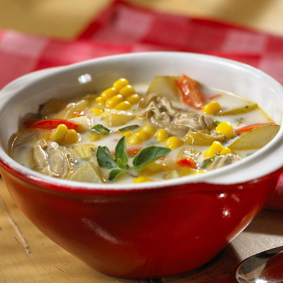 <p>Take a basic corn chowder recipe, add potatoes, jalapeños, and oysters and what do you get? A hearty 45-minute soup that will have people begging for seconds.</p>