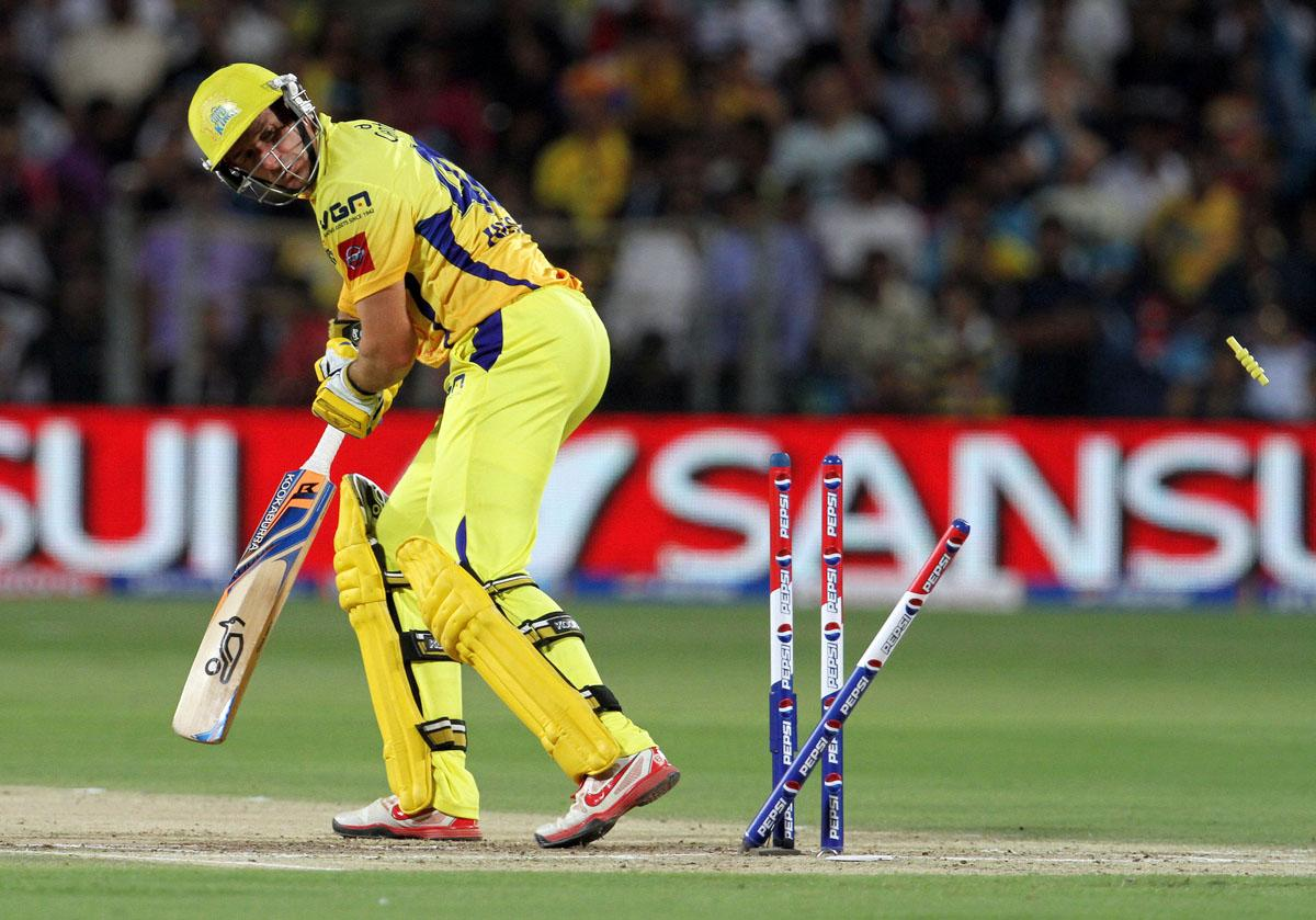 Chennai Super King player Michael Hussey gets bowled during match 42 of the Pepsi Indian Premier League ( IPL) 2013  between The Pune Warriors India and the Chennai Superkings held at the Subrata Roy Sahara Stadium, Pune on the 30th April  2013. (BCCI)