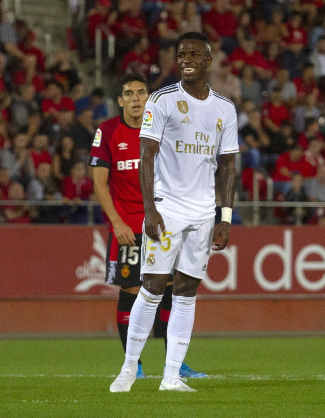 Real Madrid's Vinicius Junior reacts during the Spanish La Liga soccer match between Mallorca and Real Madrid at the Iberostar Estadi in Palma de Mallorca, Spain, Saturday, Oct. 19, 2019. (AP Photo/Francisco Ubilla)