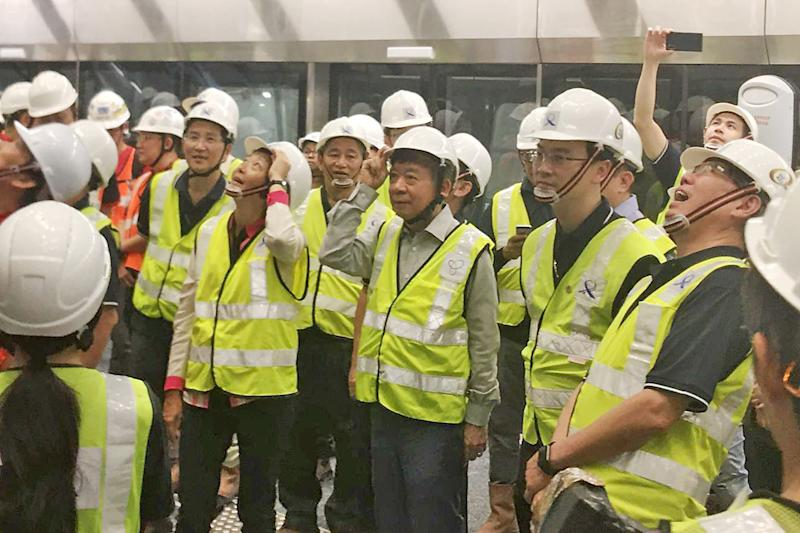 Transport Minister Khaw Boon Wan (centre, holding helmet) visited Springleaf MRT station on Friday, 17 January 2020 to be updated on the progress of Thomson-East Coast Line 2 construction. PHOTO: Vernon Lee/Yahoo News Singapore