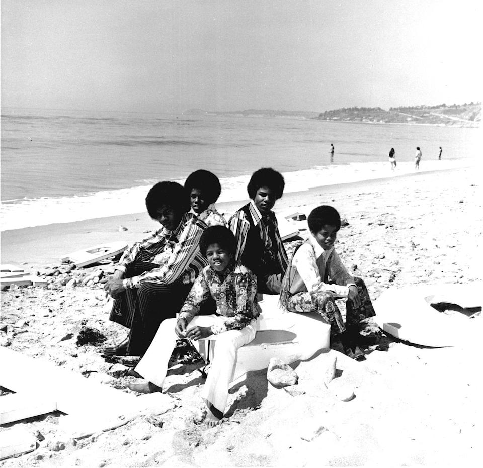 <p>The Jackson 5 pose for a portrait at the beach, circa 1970. </p>