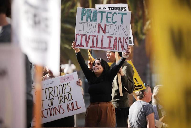 Protesters gather in Los Angeles to oppose US military involvement in the Middle East. Southern California is home to the largest Iranian population outside Iran.