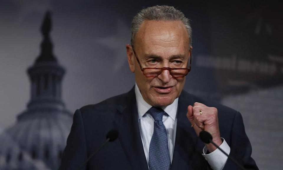 Chuck Schumer talks to reporters about the impeachment trial of President Donald Trump