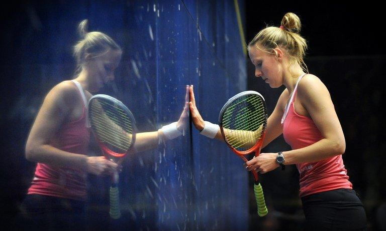 Laura Massaro of England, pictured during a game at the Australian Open squash tournament in Canberra, on August 19, 2012. Malaysia's Nicol David extended her record of World Open titles to seven from eight finals on Friday with a balanced performance and great patience to beat Massaro, 11-6 11-8 11-6
