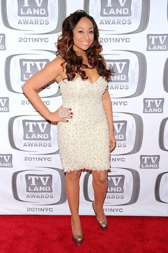 """Surprisingly, the best-dressed woman in attendance at the 9th Annual TV Land Awards was former """"Cosby"""" star Raven-Symone, who turned heads in a custom-made, pearl-covered cocktail dress by designer Ines Di Santo. Andrew H. Walker/<a href=""""http://www.filmmagic.com/"""" target=""""new"""">FilmMagic.com</a> - April 10, 2011"""