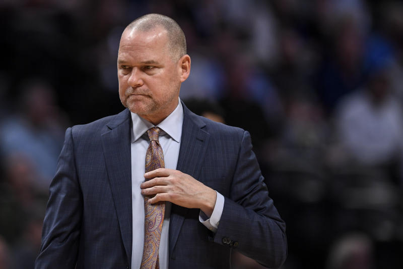 DENVER, CO - MARCH 3: Michael Malone of the Denver Nuggets works against the Golden State Warriors during the second quarter on Tuesday, March 3, 2020. (Photo by AAron Ontiveroz/MediaNews Group/The Denver Post via Getty Images)