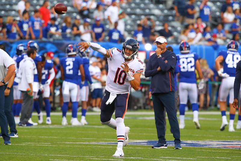 EAST RUTHERFORD, NJ - AUGUST 16: Chicago Bears quarterback Mitchell Trubisky (10) warms up prior to the National Football League game between the New York Giants and the Chicago Bears on August 16, 2019 at MetLife Stadium in East Rutherford, NJ. (Photo by Rich Graessle/Icon Sportswire via Getty Images)