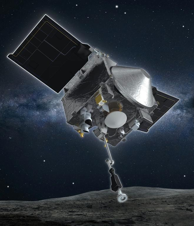 This NASA image shows an artist's rendering of the Osiris-Rex spacecraft descending to collect a sample of the surface of asteroid Bennu