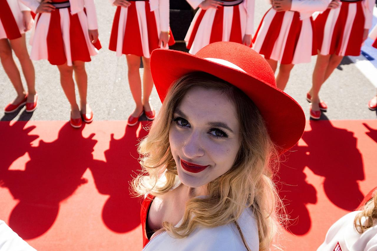 <p>A grid girl poses for a photo at the Formula One Russian Grand Prix at the Sochi Autodrom circuit in Sochi, Russia, April 30, 2017. (Photo: Andrej Isakovic/AFP/Getty Images) </p>