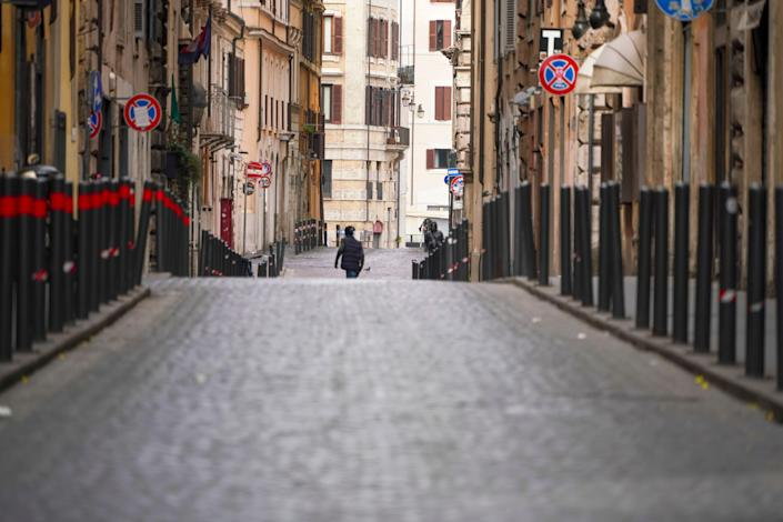 A view of an empty street, in Rome, March 21, 2020.
