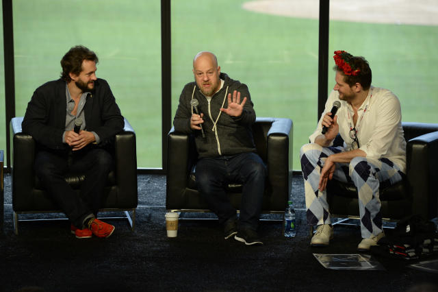"Hugh Dancy and Executive Producers David Slade and Bryan Fuller at the ""Hannibal"" Fan Meet Up at Nerd HQ."