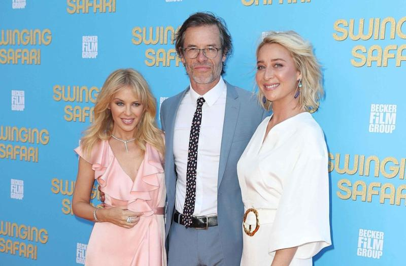 Kylie with her co-stars Guy Pearce and Asher Keddie. Source: Getty